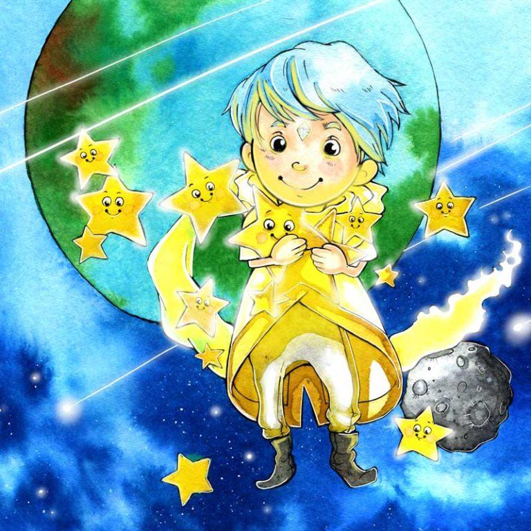 Kinderbuch Illustrationen Geschichten über Sonne, Mond und Sterne