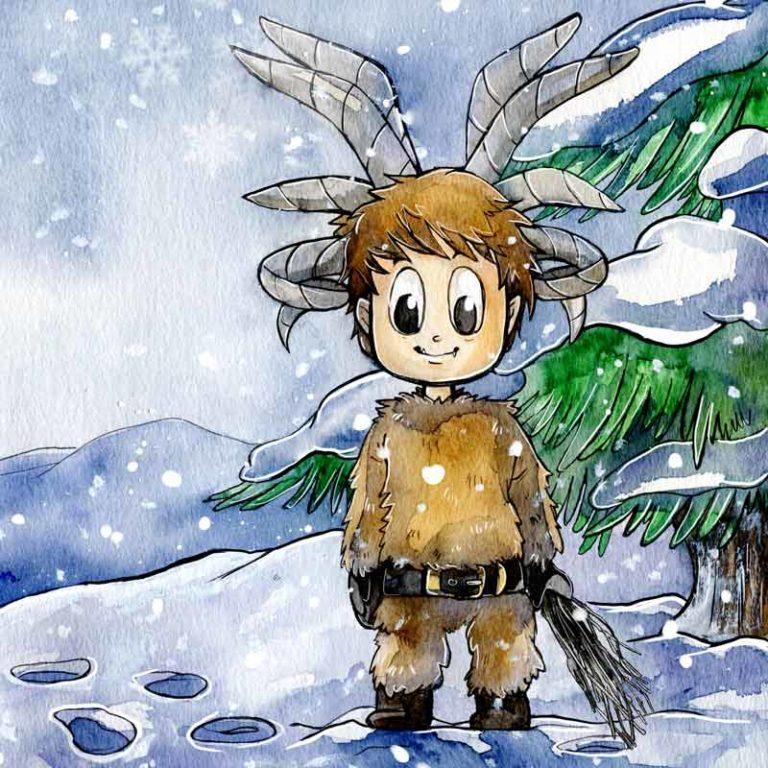 Kinderbuchillustration Klaus der kleine Krampus