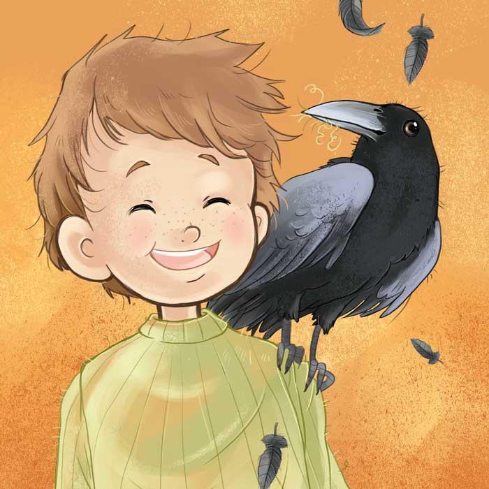 Kinderbuchillustrationen freche Krähe