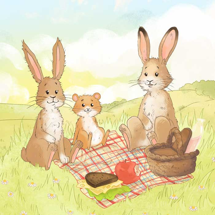 Kinderbuchillustrationen Hase Lina
