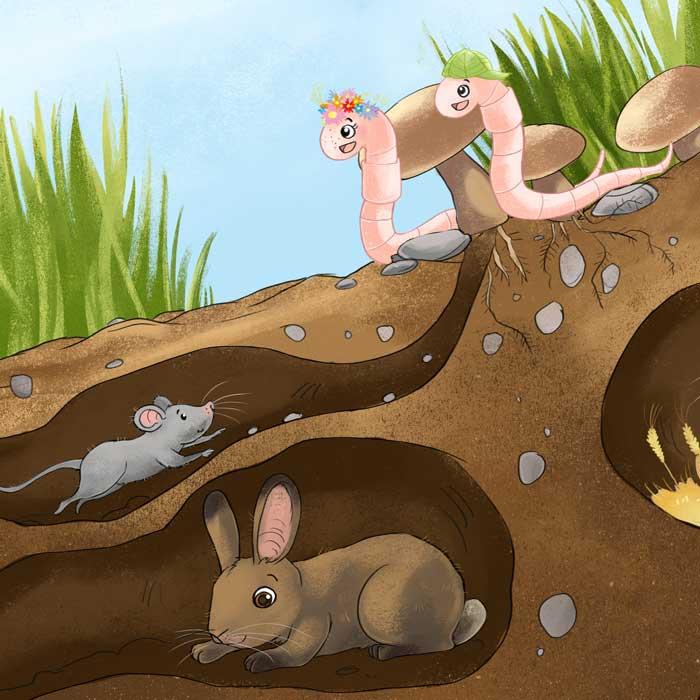 Kinderbuchillustrationen Kleine Würmchen