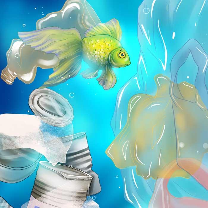 Kinderbuch Illustrationen Müll im Ozean