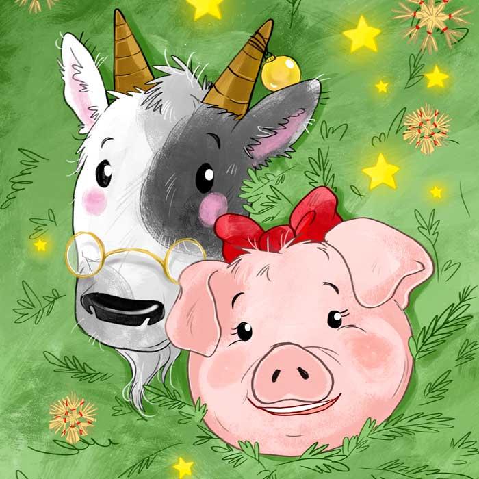 Kinder Hörbuch Illustration Weihnachtsschwein
